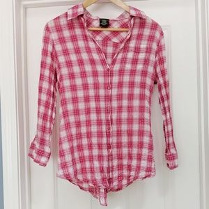 Anthropologie Fei pink plaid crinkle button down